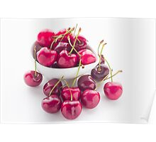 Bowl of fresh red cherries on white background Poster