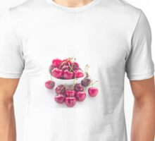 Bowl of fresh red cherries on white background Unisex T-Shirt