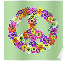 Peace Sign Floral Poster