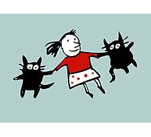 Happy Jumping Cats Photographic Print