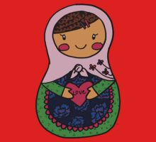 Love Russian Doll with Brown Hair Baby Tee