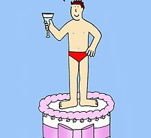 Man in underpants on a cake, saying 'Happy Birthday'. by KateTaylor