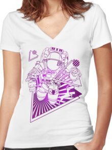 Spaceman lost in deep Cosmos Women's Fitted V-Neck T-Shirt