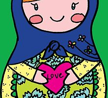 Love Russian Doll with Red Hair by Colleen Hernandez