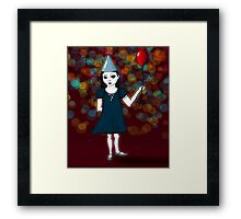 Lonely Girl's Red Balloon Framed Print