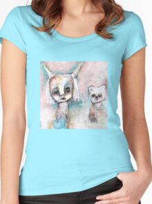 Girl and Her Cat Women's Fitted Scoop T-Shirt