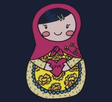 Love Russian Doll with Black Hair and Light Skin Kids Tee