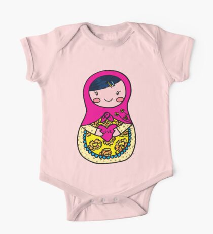 Love Russian Doll with Black Hair and Light Skin One Piece - Short Sleeve