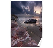 Rocks under a Stormy Selsey Sunset Poster