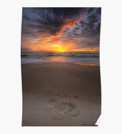 Sunshine Beach Footprint Poster