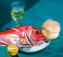 Redfish,bread and wine by Guntis Jansons