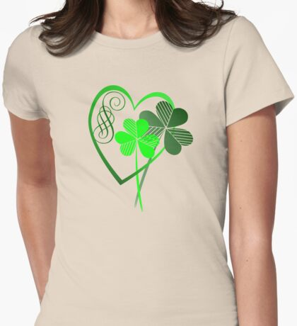 Two Green Shamrocks  Womens Fitted T-Shirt