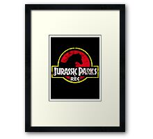 Jurassic Parks and Rec Distressed  Framed Print