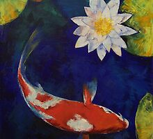 Kohaku Koi and Water Lily by Michael Creese