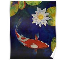 Kohaku Koi and Water Lily Poster
