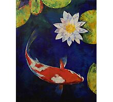 Kohaku Koi and Water Lily Photographic Print