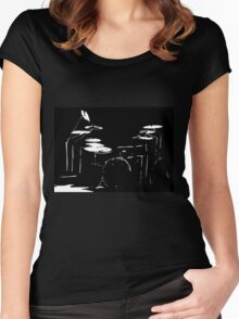 Drum kit black and white Women's Fitted Scoop T-Shirt