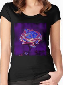 Blue and Purple Rose Women's Fitted Scoop T-Shirt