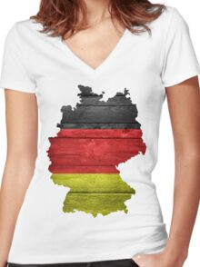 Germany Flag Map Women's Fitted V-Neck T-Shirt