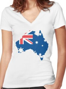 Australia Flag and Map Women's Fitted V-Neck T-Shirt