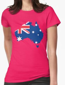 Australia Flag and Map Womens T-Shirt