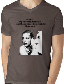 Shhh... My unicorn tell me something Mens V-Neck T-Shirt