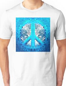 Abstract Blue Peace Sign Unisex T-Shirt