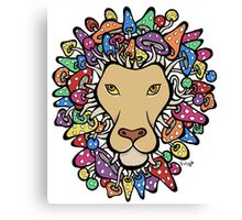 Lion with mane of mushrooms Canvas Print