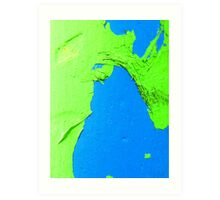 Green on Blue Art Print
