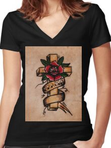 Cross | Gracia  Women's Fitted V-Neck T-Shirt