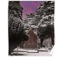 Chapel with purple sky Poster