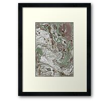 Liquid White, and gold, brown and Green Framed Print