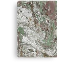 Liquid White, and gold, brown and Green Canvas Print