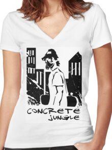 concrete jungle Women's Fitted V-Neck T-Shirt