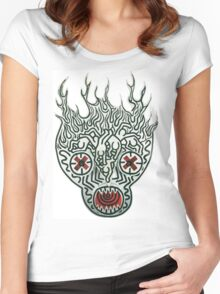 keith haring skull Women's Fitted Scoop T-Shirt