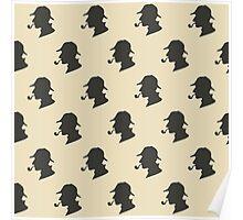 Sherlock Holmes Silhouette Pattern Poster