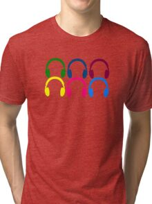 Colorful Headphones Tri-blend T-Shirt