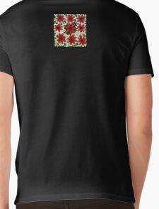 Red Flowers on White Mens V-Neck T-Shirt
