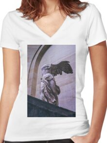 Winged Victory of Samothrace Women's Fitted V-Neck T-Shirt