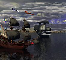 HMS Prince William & the Flying Dutchman by Sazzart