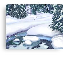 Frozen Stream on Christmas Eve for Momma Canvas Print