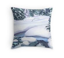 Frozen Stream on Christmas Eve for Momma Throw Pillow