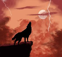 Wolf Howling in the Night by Edmond  Hogge