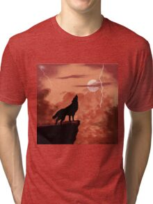 Wolf Howling in the Night Tri-blend T-Shirt