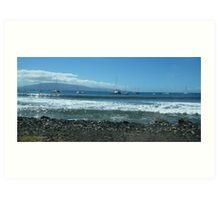 Lahaina's view of the sailing ships anchored at the waterfront..... Art Print