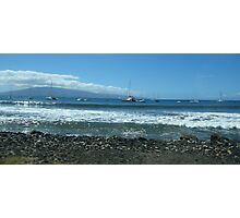 Lahaina's view of the sailing ships anchored at the waterfront..... Photographic Print