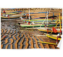Fishing boats at low tide at dawn on Sanur Beach Poster