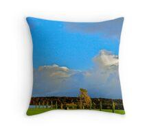 Blue Sky on Green Throw Pillow