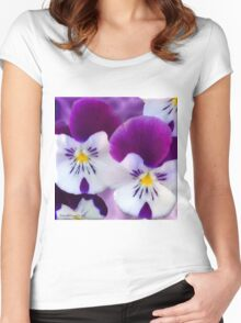 Purple Pansies Women's Fitted Scoop T-Shirt