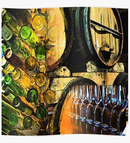Barrels bottles & glasses Poster